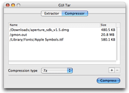 GUI Tar screenshot - Compressor